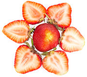 Group sliced strawberries. On a white background Royalty Free Stock Photo