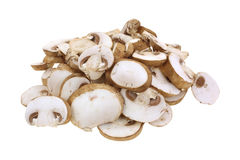 Sliced Baby Bella Mushrooms on White Stock Photography