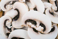 Group of Sliced Mushrooms Royalty Free Stock Images