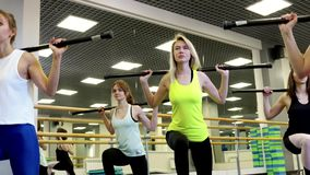 Group of slim beautiful young women doing a barbell lunges. At the gym during group workouts. Sports and lifestyle concept stock video
