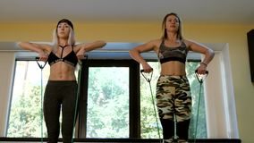 Group of slim women doing aerobics in the gym. Group of slim women doing aerobics in fitness class. Slow motion. 4K stock video
