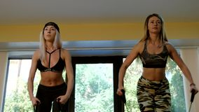 Group of slim women doing aerobics in the gym. Group of slim women doing aerobics in fitness class. Slow motion. 4K stock video footage