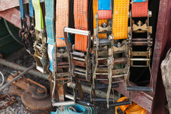 Group of slings with steel buckles Stock Photography