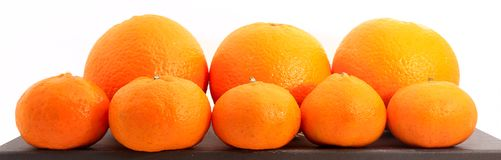 Group of small and big tangerines or mandarin oranges isolated on white Royalty Free Stock Photography