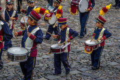 Group of small children Marching Band in Uniforms - Antigua, Guatemala Stock Photography
