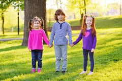 A group of small children smiling holding hands on a background of grass, a tree and a park. stock photography
