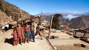 Group of small children in western Nepal near Rara lake Stock Images