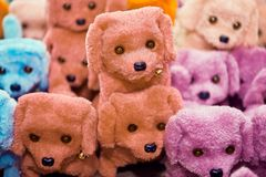 Group of small cute stuffed toy dogs in different colors royalty free stock images