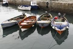 Group of small fishing boats Royalty Free Stock Images