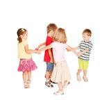Group of small kids dancing, having fun. Royalty Free Stock Photography