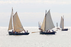 Group of small, old sailing ships Royalty Free Stock Photo