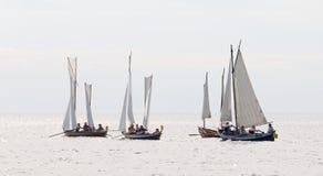 Group of small, old sailing ships Royalty Free Stock Photo