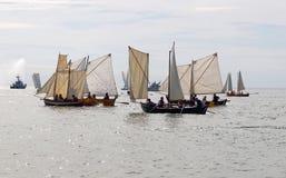 Group of small, old sailing ships Royalty Free Stock Image