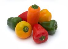 Group of small peppers. Isolate on white Stock Photography
