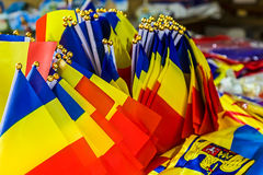 Group of small romanian flags Stock Photos