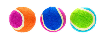Group of small rubber and cloth fetch balls for dogs Royalty Free Stock Photo