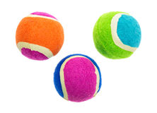 Group of small rubber and cloth fetch balls for dogs Royalty Free Stock Images
