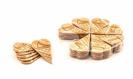 Group of small wafer ice cream cone Royalty Free Stock Photos