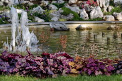 Group from small water fountains flowing in front beauty rockery Stock Image