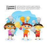 Group Of Smart Kids Holding Light Bulbs Children Preschool Education Concept. Flat Vector Illustration vector illustration