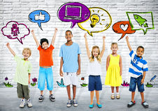 Group of Smart Kids with icons stock illustration