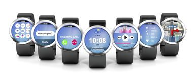 Group of smart watches Stock Photos