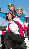 Group of smiley skier friends Stock Images