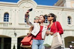 Selfie of girls outdoors stock photography