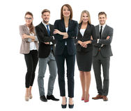 Group of smiling business people. Isolated over white background Stock Photo