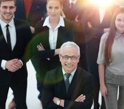 View from the top. group of smiling business people looking at camera. royalty free stock photography