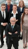 View from the top. group of smiling business people looking at camera. stock image