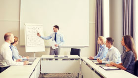 Group of smiling businesspeople meeting in office. Business, people and teamwork concept - group of smiling businesspeople meeting on presentation in office stock photo