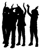 Group of smiling children, girl and boy applauding,  silhouette. Illustration isolated on white background. Hands in the air. Happy kids crowd Royalty Free Stock Photography