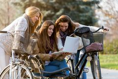 Group of smiling college girls on park bench working on laptop royalty free stock photo