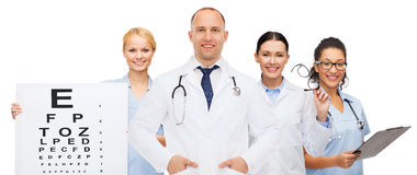 Group of smiling doctors with eye chart Royalty Free Stock Photography