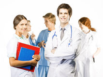 Group of smiling Doctors on white background Royalty Free Stock Photography