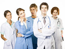 Group of smiling Doctors on white background Royalty Free Stock Images