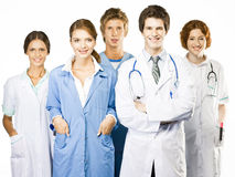 Group of smiling Doctors on white background Stock Images
