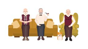 Group of smiling elderly men dressed in casual clothes sitting on comfortable couch and in cozy armchair. Old male Royalty Free Stock Photo