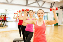 Group of smiling female with dumbbells and step Royalty Free Stock Image