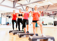 Group of smiling female with dumbbells and step Royalty Free Stock Photos