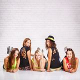 Group of smiling fitness girls with copy sapce royalty free stock photos