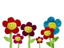 Group of smiling flowers. On white background Royalty Free Stock Images
