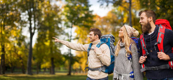 Group of smiling friends with backpacks hiking Royalty Free Stock Images
