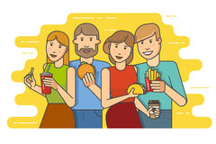 Group of smiling friends with fast food Stock Images