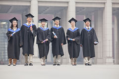 Group of smiling graduate students in graduation gowns and mortarboards standing diplomas in hands Stock Photo
