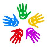 A group of smiling hands - vector royalty free illustration