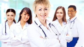 Group of smiling hospital colleagues Stock Photo