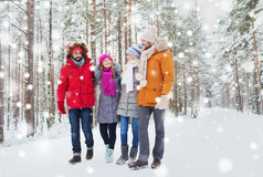 Group of smiling men and women in winter forest Royalty Free Stock Image
