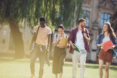 Multicultural students walking in park Stock Images